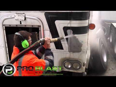 Removing paint from Aluminium truck cab - ProBlast Melbourne Dustless Blasting