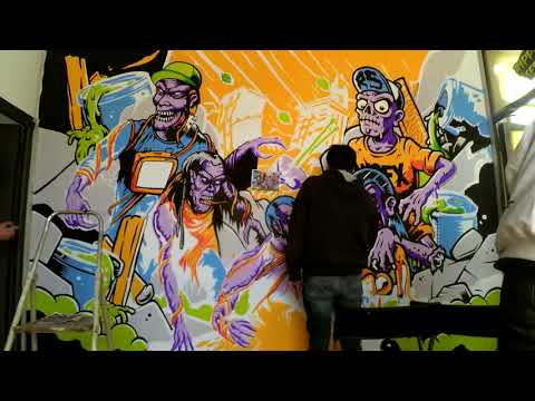 Ripper Seeds - Mural painting time lapse (Joel Abad + Marcos Cabrera)