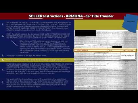Transfer Arizona Title - SELLER Instructions