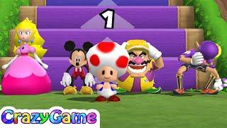 Mario Party 9 Step It Up #153 Peach vs Daisy (Mickey) vs Wario vs Waluigi Gameplay (Master CPU)