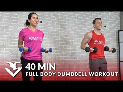 40 Min Full Body Dumbbell Workout at Home Routine - Total Body Workout with Weights for Women & Men