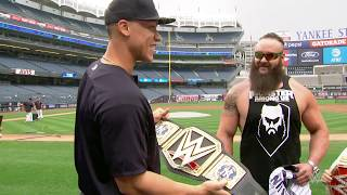 New York Yankees All-Star outfielder Aaron Judge is presented with a custom WWE Championship