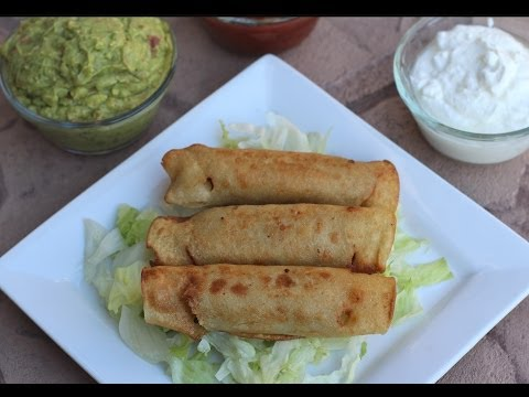 How To Make Ground Beef Taquitos - Cooked Two Ways Fried & Baked With Guacamole by Rockin Robin