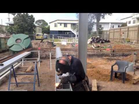 How To build a Steel portal frame. Cedar st Wynnum Video No3