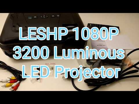 LESHP LED Projector HD 1080P 3200 Lumens Projector