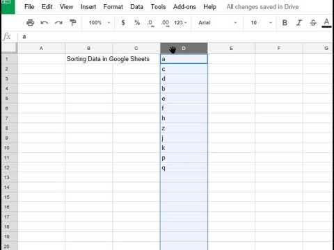 How to Sort Data in Google Spread Sheets