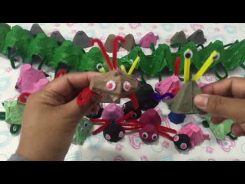 Egg Cartons Creations Caterpillar Spider Pig and more #06