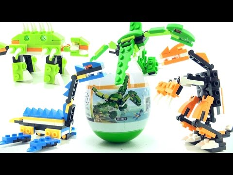 4 surprise egg dinosaurs - Lego compatible dinosaur bricks - T-Rex Plesiosaurus Speed Build