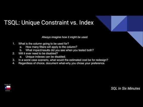 TSQL: Unique Constraint vs. Unique Index