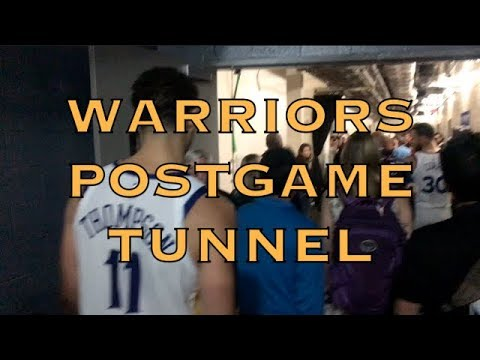Postgame tunnel w/ Klay creepin' (LOL), Steph Curry, Durant (on-air TNT), Draymond (on-air China)