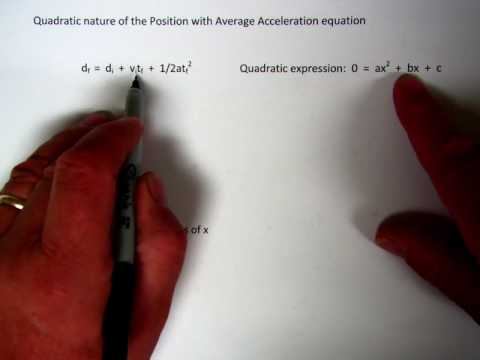 Quadratic relation of displacement with average acceleration equation
