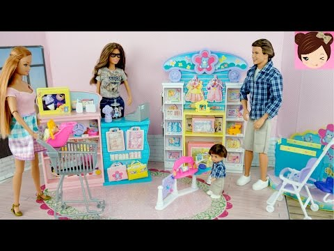 Barbie Mommy and Her Kids go Shopping at the Super Store Playset - Happy Family Toys