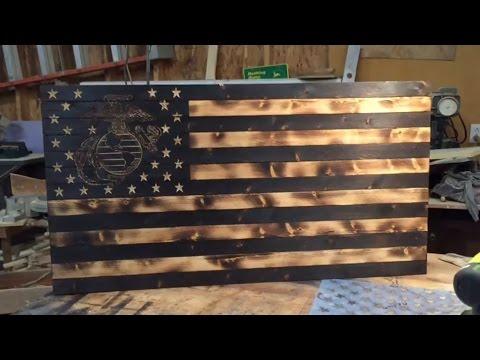 DIY Wooden American Marine Flag