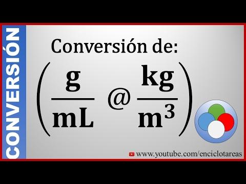 Convertir de g/mL a kg/m³ - Conversión de unidad.