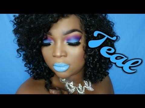 Dark Skin || Teal Makeup Look