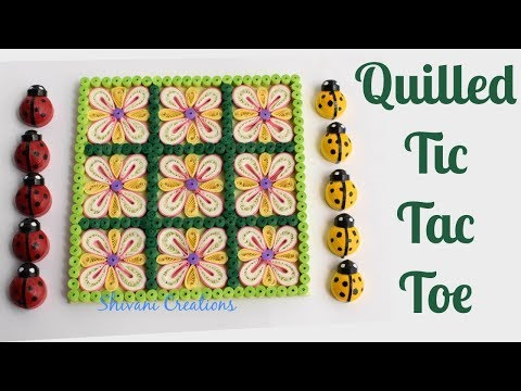 Quilled Tic Tac Toe/ DIY Quilling Game/ Quilling Lady bugs
