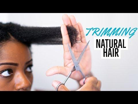 TRIMMING Natural Hair (First Time Since Big Chop) (4B/4C Hair)
