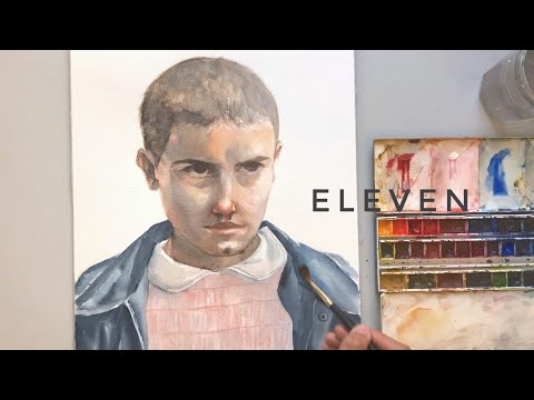painting eleven from stranger things in watercolor