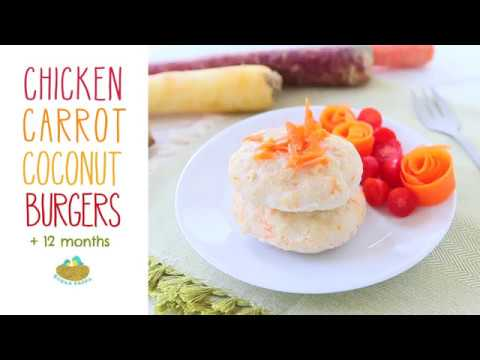Chicken Carrot Coconut Burgers +12 months recipe