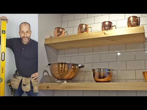 DIY How To Install Floating Shelves On a Subway Tile Backsplash