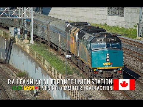 4K - Evening Rush Hour GO and VIA Rail Trains at Toronto Union Station's Western Approach