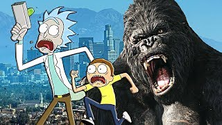 (PART 2) KING KONG VS RICK AND MORTY - GTA V MOD (MR. MEESEEK & SUMMER SMITH)