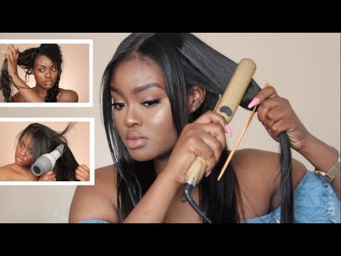 What I Wash my Sew-In Weave & Leave-Out With + Straightening | Routine