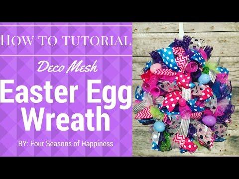 Easter Egg Wreath, Deco Mesh Wreath, Deco mesh Easter egg wreath, Spring wreath