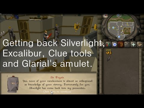 RuneScape 2007  Getting back Glarial's amulet, Ava's accumulator, Clue tools and Quest swords.