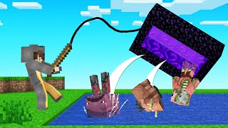 How To CATCH ANYTHING With OP FISHING RODS! (Minecraft)
