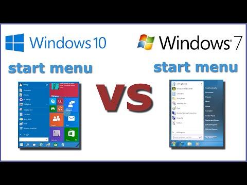 Windows 10 vs Windows 7 Start Menu Comparison