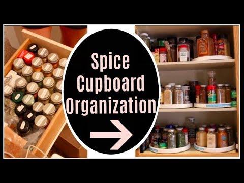 Kitchen Spice Cupboard Organization