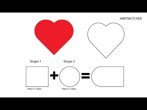 Easy Basic Shapes Vector Heart Making Icon Tutorial in Illustrator CC