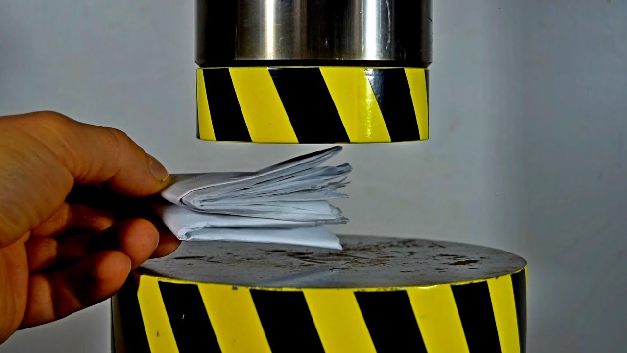 IS IT POSSIBLE TO FOLD PAPER IN HALF MORE THAN SEVEN TIMES, USING A HYDRAULIC PRESS