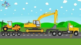 New Transport Truck | Excavator and Compactor Roller | Toy Factory - Video for kids