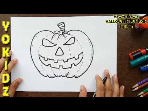 How to draw a HALLOWEEN PUMPKIN for kids