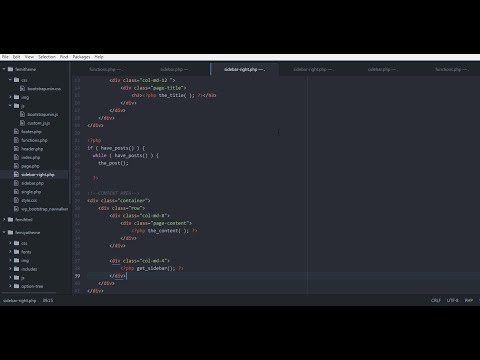 Html to WordPress  - part 10 -  Creating right sidebar page and adding widgets