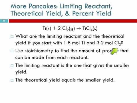8.5 part 2 More Pancakes: Limiting Reactant, Theoretical Yield, & Percent Yield