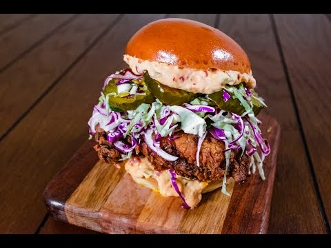 The Ultimate Buttermilk Fried Chicken Sandwich w/ Pimento Cheese & Pickle Slaw   TOM TO TABLE