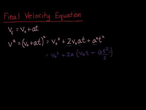 Physics: 18. Final Velocity Equation