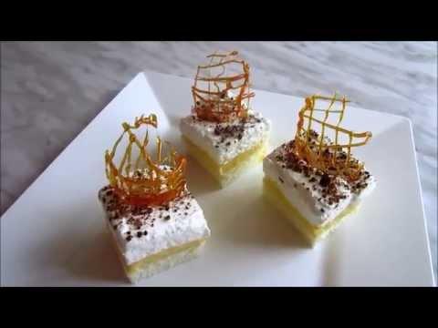 Cake with egg white foam and egg yolk cream