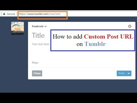 How to add Custom URL to Tumblr Blog Post