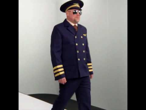 Pilot Captain Uniform Mens Fancy Dress Costume