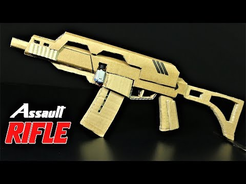 How To Make A Fully Automatic Cardboard Assault Rifle that SH00TS