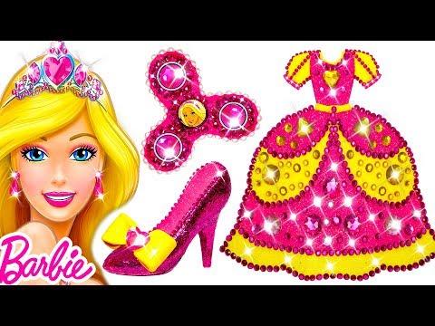 DIY How To Make Super Glitter Play Doh Barbie Princess Dress & Shoes & Fidget Spinner