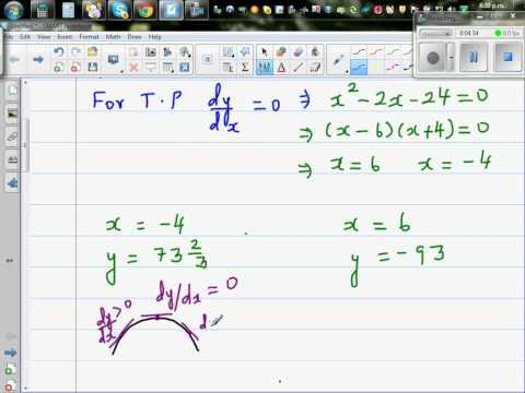 Using differentiation to determine maximum and minimum of a curve