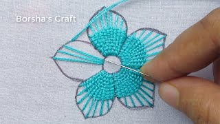 Hand Embroidery Fantasy Flower Embroidery Tutorial, Simple Hand Embroidery For Dresses