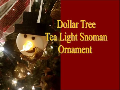 DIY Dollar Tree Snowman Tea Light Ornament