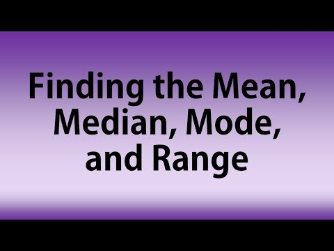 Finding the Mean (Average), Median, Mode, and Range from a Set of Data