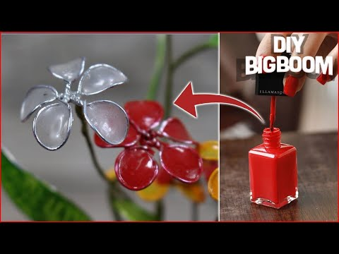 How to make a flower from nail polish - Making flower 2018 - Diy BigBoom